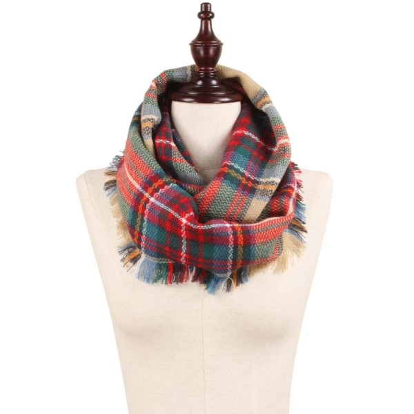 "Woven Plaid Infinity Scarf with Frayed Trim.  - Approximately 13.5"" W x 31.5"" L - 100% Acrylic"