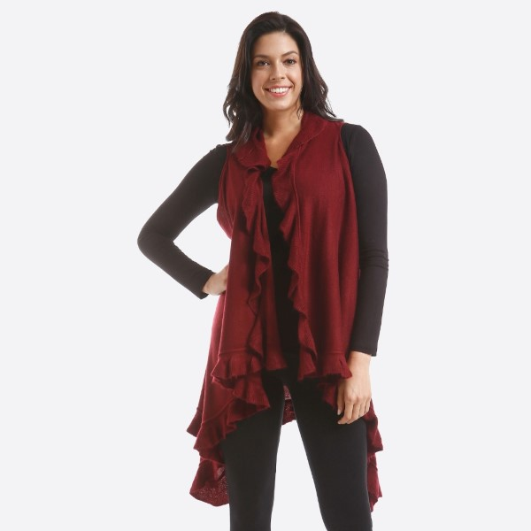 Knit Vest Featuring Ruffle Trim Detail.  - One size fits most 0-14 - 100% Acrylic