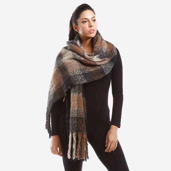 Wholesale oversized check scarf fringe polyester