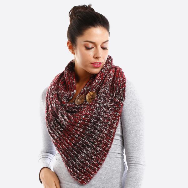 Wholesale knit scarf button detail acrylic