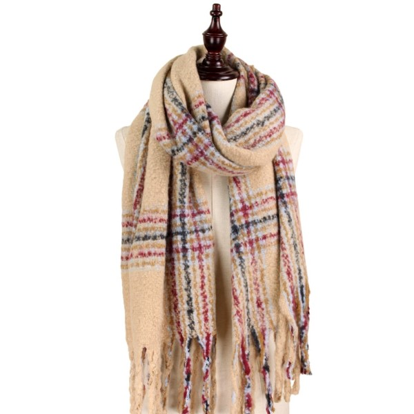 Wholesale soft knit plaid scarf fringe acrylic polyester