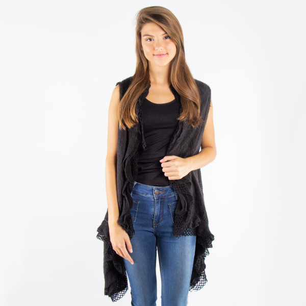 Wholesale ruffle knit vest acrylic One fits most