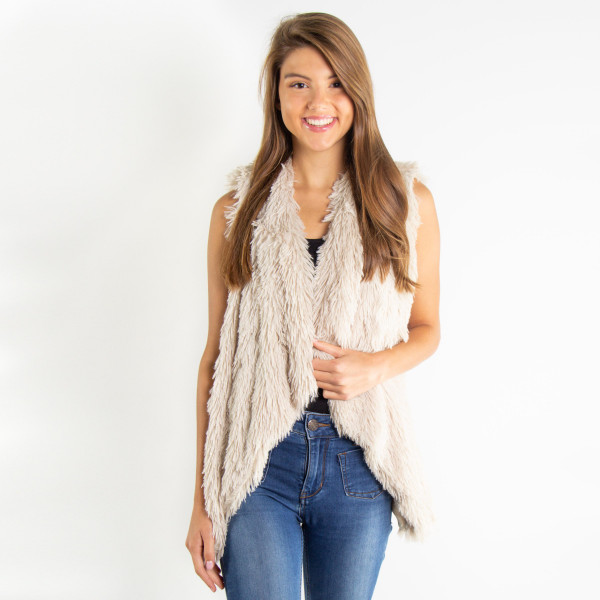 Wholesale solid color faux fur collar vest polyester One fits most