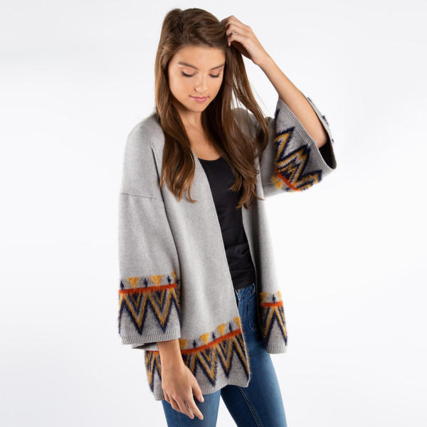Women's Aztec Print Wide Sleeve Cardigan.   - One size fits most 0-14 - 50% Viscose, 28% Nylon, 22% Polyester