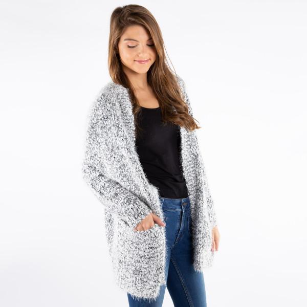 Women's Soft Eyelash Cardigan.  - Pockets - One size fits most 0-14 - 85% Acrylic / 15% Polyester