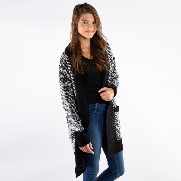 """Women's Long Line Cardigan with Pockets.  One size fits most 0-14 - Approximately 35"""" Long - 50% Acrylic / 50% Polyester"""