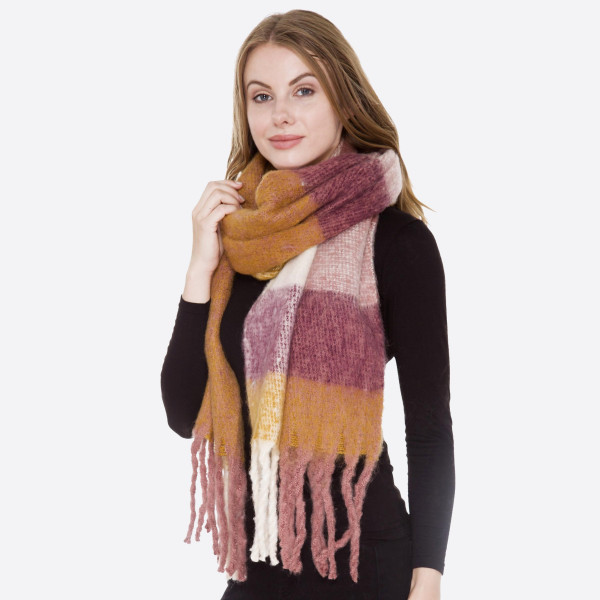 Soft Knit Checkered Scarf Featuring Fringe Tassels.  - 100% Acrylic