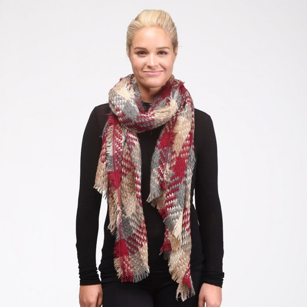 Wholesale thick knit plaid scarf acrylic