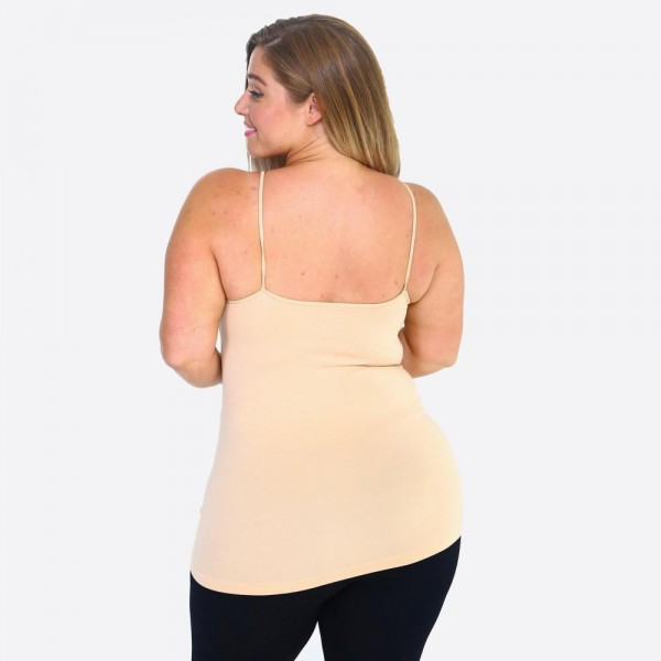 "Women's Solid Plus Size Triple Criss Cross Seamless Camisole.  • Scoop-neck • Unique Crisscross Front • Spaghetti Straps • Curve-Hugging • Body Contouring • Ultra Soft • Stretchy Knit • Machine Wash • Imported  - One size fits most 16-22 - Approximately 25"" L - 92% Nylon / 8% Spandex"