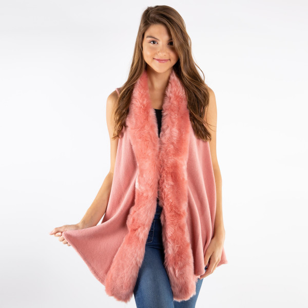 Wholesale faux fur trimmed vest acrylic One fits all