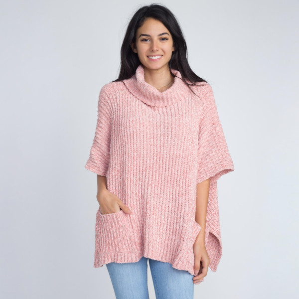 Loose fitting chenille turtle neck poncho with front pockets.   - One size fits most 0-14  - 100% Polyester