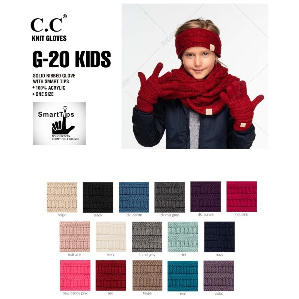 C.C G-20 KIDS Kids Ribbed Knit Gloves Featuring Faux Leather Palm Detail  - 100% Acrylic - One size fits most