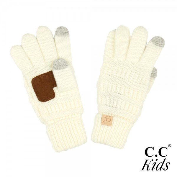 Wholesale c C G KIDS Kids Ribbed Knit Gloves Faux Leather Palm Detail Acrylic On