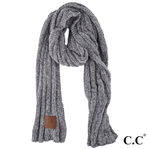 """C.C SF-30 Chenille ribbed oblong scarf  - 100% Chenille  - W:17"""" X H:78"""""""