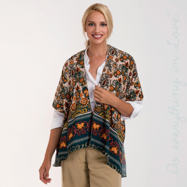 Floral print short sleeve kimono.    - One size fits most 0-14 - 100% Polyester