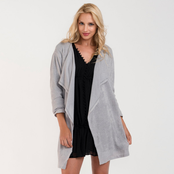 Wholesale waterfall lapel cozy knitted cardigan One fits most Acrylic Spandex