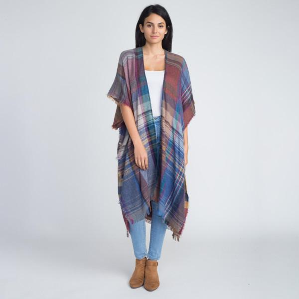 Wholesale nice long heavyweight plaid kimono acrylic One fits most