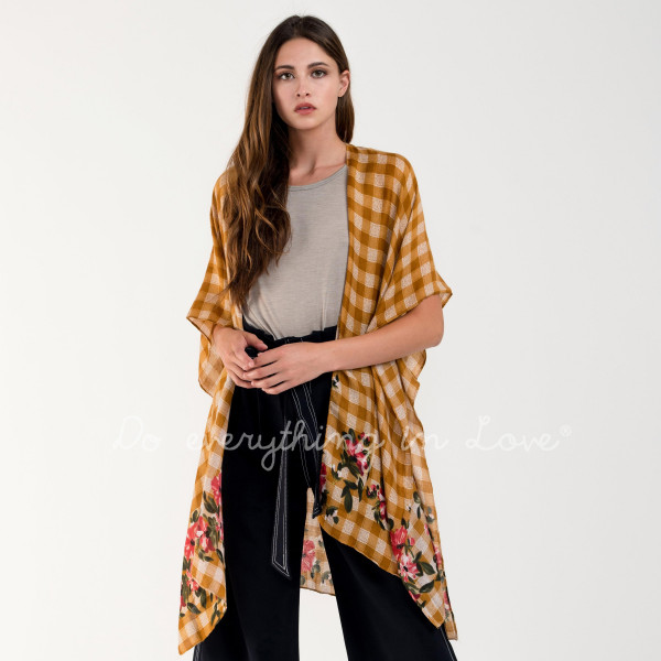 "Do everything in Love Brand Checkered Floral Print Kimono.  - One size fits most 0-14 - Approximately 35"" L - 100% Polyester"