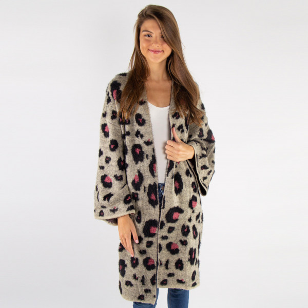 Wholesale do everything Love Brand Mohair Leopard Print Cardigan One fits most P