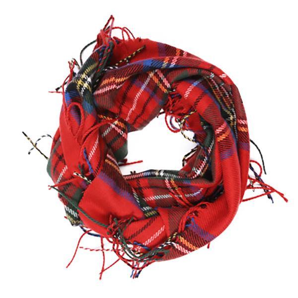 Wholesale infinity plaid scarf acrylic