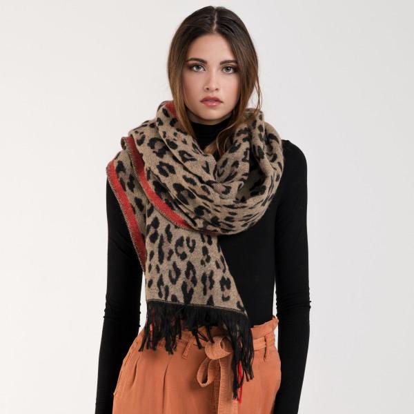 Leopard Stripe Print Large Scarf BROWN
