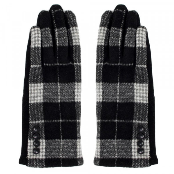 Plaid Gloves Featuring Button Cuff Detail.  - One size fits most - 60% Polyester / 30% Cotton