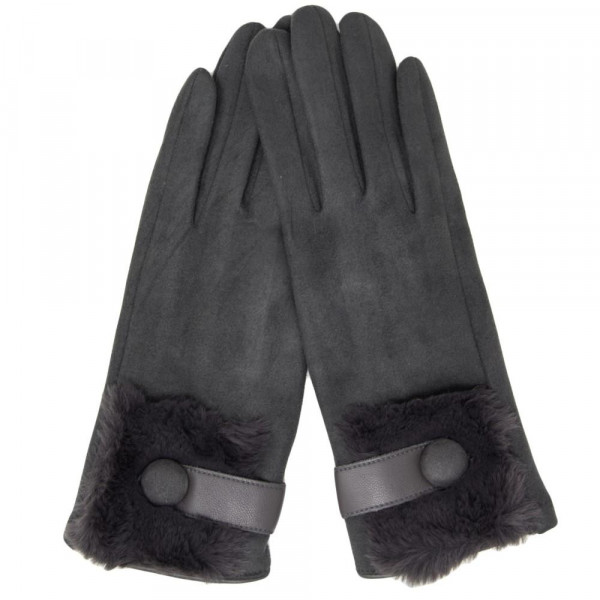 Faux Suede Fur Trim Gloves Featuring Button Cuff Detail.  - One size fits most - 90% Polyester / 10% Cotton