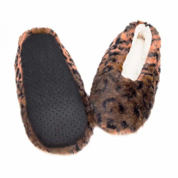 Faux Fur Leopard Print Sherpa Indoor Slippers.  - Fits Small Approximately (5-6) - 100% Polyester