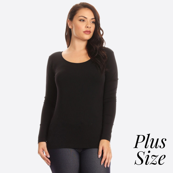 Women's Plus Size Solid Seamless Long Sleeve Shirt.  • Seamless knit top  • Scoop neckline  • Long sleeves  • Seamless finish  • Silk satin edging lies flat against skin  • Fitted silhouette  • Pullover style  - One size fits most plus 16-22 - 92% Nylon / 8% Spandex