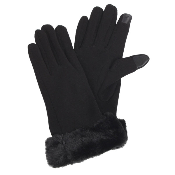 Solid Color Smart Touch Gloves Featuring Faux Fur Cuff.  - Touchscreen Compatible - One size fits most - 100% Polyester