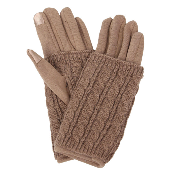 Wholesale layered Cable Knit Smart Touch Gloves Touchscreen Compatible One fits