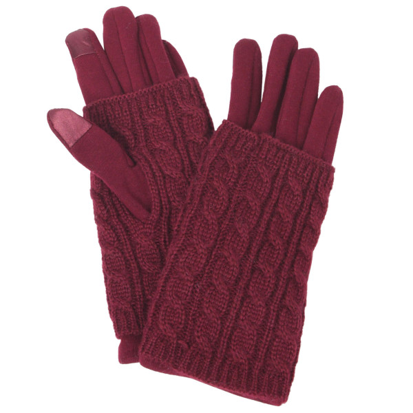 Layered Cable Knit Smart Touch Gloves.  - Touchscreen Compatible  - One size fits most - 100% Polyester