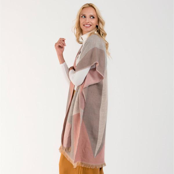 Wholesale geometric asymmetrical kimono acrylic One fits most