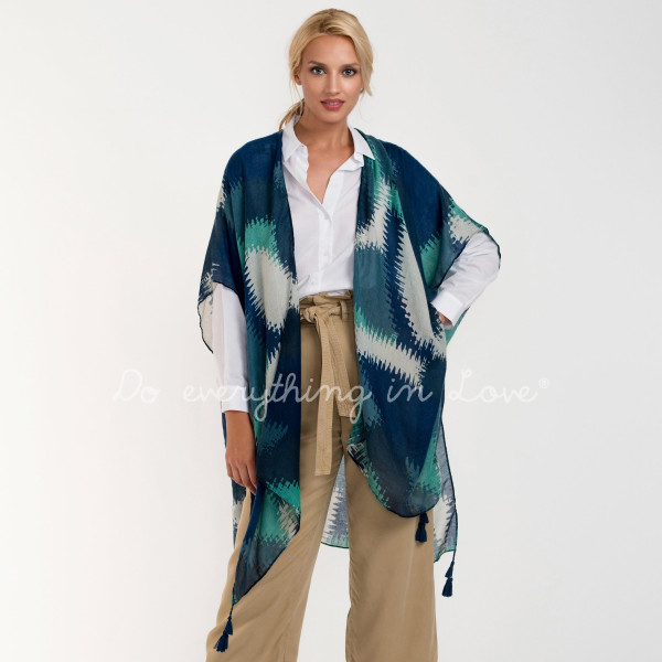"Do everything in Love Brand Lightweight Geometric Mosaic Kimono.   - One size fits most 0-14 - Approximately 37"" L - 100% Viscose"