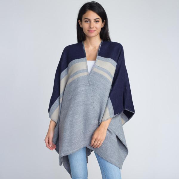 Wholesale ruana wrap stripes acrylic One fits most