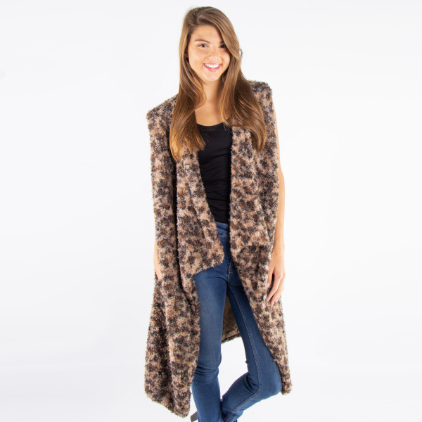 Wholesale sleeveless soft touch faux sherpa leopard print vest acrylic One fits