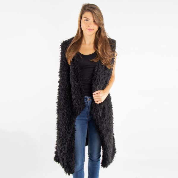 Wholesale soft touch faux sherpa vest acrylic One fits most