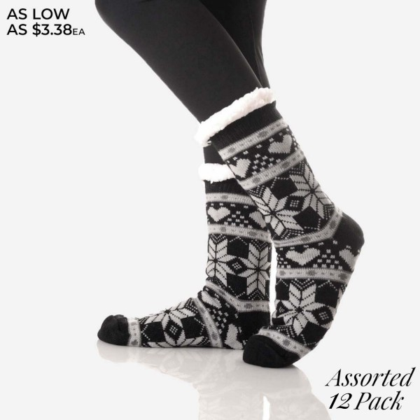 Women's Assorted Christmas Snowflake Print Sherpa Socks. (12 Pack)  • Unique, pattern designs on exterior  • Reinforced toe seam  • Thick  • Breathable  • Rubber dot traction bottom  • Plush faux sherpa lining  • Imported   - 12 Pair Per Pack - 6 Assorted Colors/Prints - Size: Adult 9-11 - 40% Acrylic, 60% Polyester