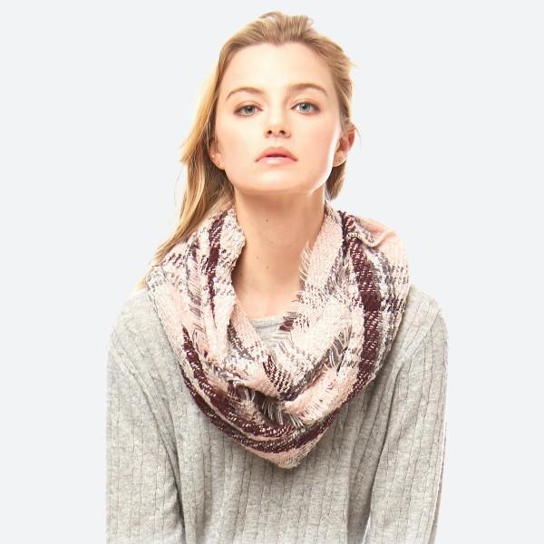 Wholesale plaid infinity scarf acrylic