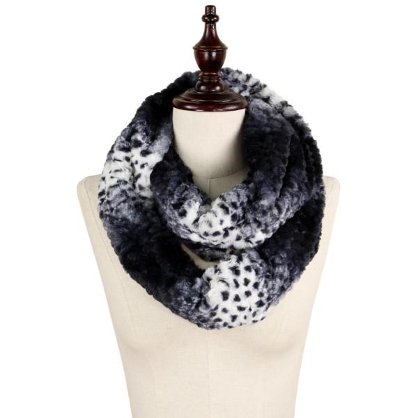 Wholesale animal print faux fur infinity scarf acrylic