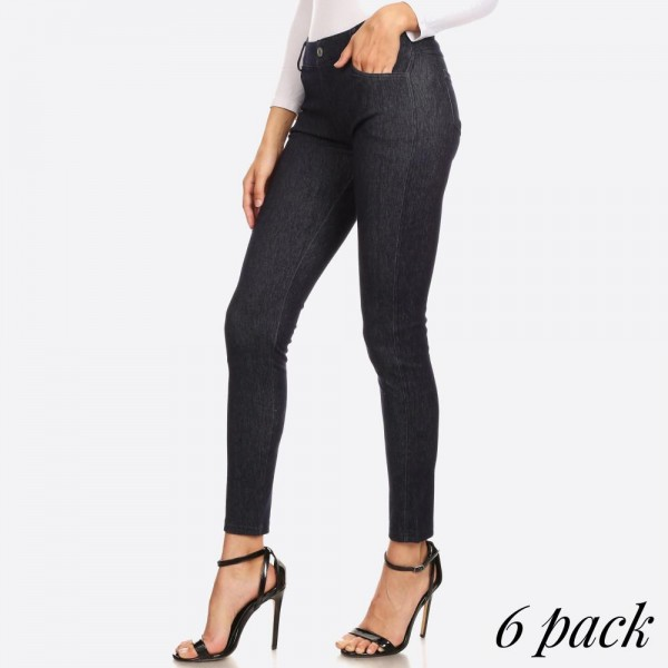 "Women's Classic Faded Out Skinny Jeggings.  • Faux front button closure • Mid rise • 5 Pockets • Faded color accents • Skinny leg • Super soft, stretchy • Pull up styling • Imported  - Pack Breakdown: 6 Pair Per Pack - Sizes: 3-S/M & 3-L/XL - Inseam approximately 28"" L - 60% Cotton, 33% Polyester, 7% Spandex"