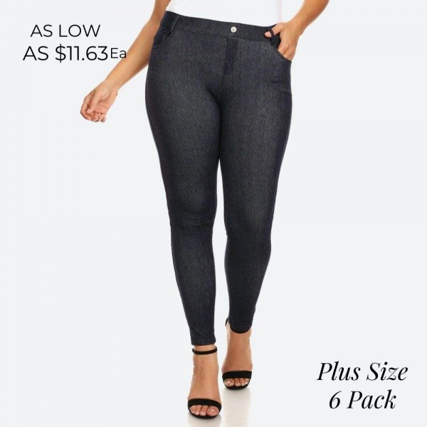 "Women's Plus faded out soft knit skinny jeggings with pockets.  • Faux front button closure • Mid rise • 5 Pockets • Faded color accents • Skinny leg • Super soft, stretchy • Pull up styling • Imported  - Pack Breakdown: 6pcs/pack - Sizes: 2-XL / 2-2XL / 2-3XL  - Inseam approximately 28"" L - 60% Cotton, 33% Polyester, 7% Spandex"