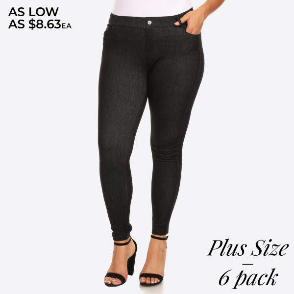 """Women's Plus Size Faded Style Jeggings with Pockets. (6 Pack)  • Faux front button closure • Mid rise • 5 Pockets • Faded color accents • Skinny leg • Super soft, stretchy • Pull up styling • Imported  - Pack Breakdown: 6 Pair Per Pack - Sizes: 3-L/XL / 3-XL/XXL - Inseam approximately 28"""" L - 60% Cotton, 33% Polyester, 7% Spandex"""