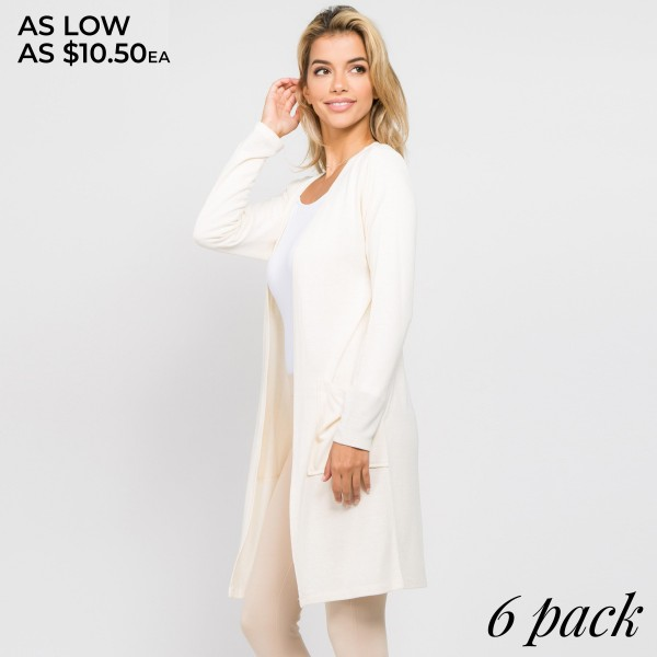 """Women's Solid Color Thin Knit Cardigan. (6 PACK)  - Long sleeves; open front  - Two Open Side Pockets, Keeps Loose Items At Hand  - Longline hem  - Soft and stretchy knit fabric  - Breathable design  - Imported    - Pack Breakdown: 6 Cardigans Per Pack - Sizes: 2-S / 2-M / 2-L  - Approximately 37"""" L  - 80% Polyester, 16% Cotton, 4% Spandex"""