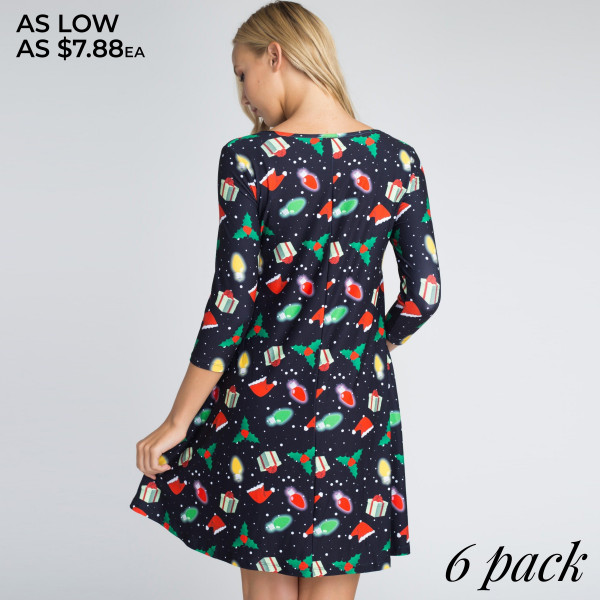 This dress is sure to inspire you to rock around the Christmas tree with everyone dancing merrily in the new, old fashioned way! Featuring various Christmas prints on soft, stretchy fabric that shapes the swing hem.   • 3/4 length sleeves, round neck  • Two open side pockets  • Fit and flare swing silhouette  • Knee length hem  • Soft and stretchy  • Imported    - Pack Breakdown: 6pcs / pack   - Sizes: 2S / 2M / 2L   - Composition: 90% Polyester, 10% Spandex