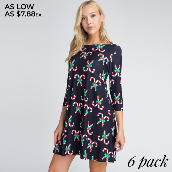 This dress is sure to inspire you to rock around the Christmas tree with everyone dancing merrily in the new, old fashioned way! Featuring various Christmas prints on soft, stretchy fabric that shapes the swing hem.   • 3/4 length sleeves, round neck  • Two open side pockets  • Fit and flare swing silhouette  • Knee length hem  • Soft and stretchy  • Imported    - Pack Breakdown: 6pcs / pack.   - Sizes: 2S / 2M / 2L   - Composition: 90% Polyester, 10% Spandex