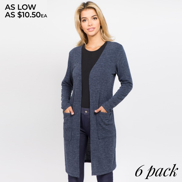 "Women's Solid Color Thin Knit Cardigan. (6 PACK)  - Long sleeves; open front  - Two Open Side Pockets, Keeps Loose Items At Hand  - Longline hem  - Soft and stretchy knit fabric  - Breathable design  - Imported    - Pack Breakdown: 6 Cardigans Per Pack - Sizes: 2-S / 2-M / 2-L  - Approximately 37"" L  - 80% Polyester, 16% Cotton, 4% Spandex"
