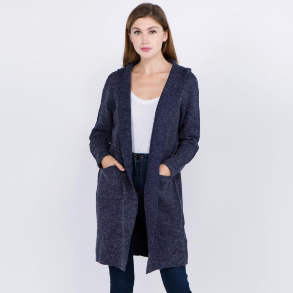 Wholesale women s Hooded Knit Cardigan Pockets One fits most Acrylic Cotton