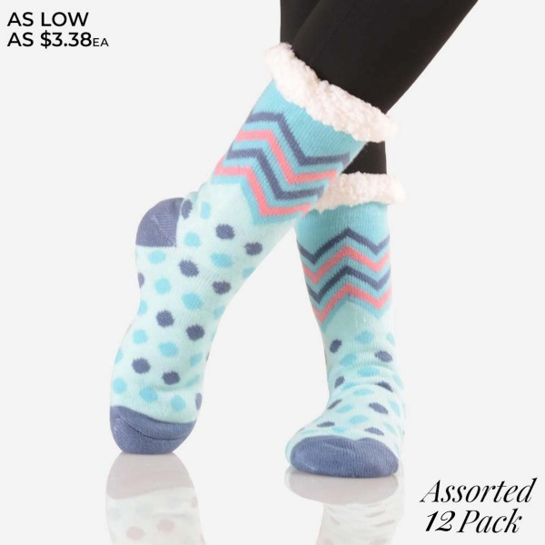 Women's Assorted Knit Sherpa Socks. (12 Pack)  • Unique, pattern designs on exterior  • Reinforced toe seam  • Thick -Breathable  • Rubber dot traction bottom  • Plush faux sherpa lining  • Imported   - 12 Pair Per Pack - 6 Assorted Colors/Prints - Size: Adult 9-11 - 40% Acrylic, 60% Polyester