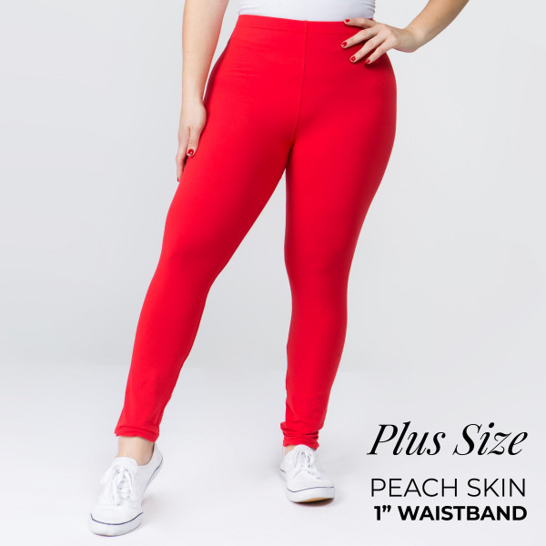 "Women's Plus Size New Mix Brand Solid Peach Skin Leggings.  - 1"" Elastic Waistband - Full-Length - Inseam approximately 28""  - One size fits most plus 16-20 - 92% Polyester / 8% Spandex"